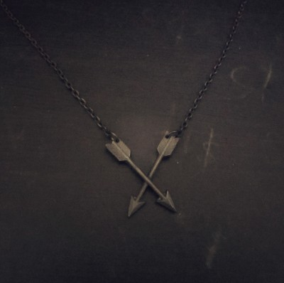 Leaden Crossed Arrows necklace. Don't worry. It's not actually lead. Go ahead. Put it in your mouth.